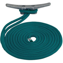 1/2'' Green Nylon Double Braided Dock Line Rope with Spliced Eye for Marine Supplies