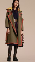Woolen New England thick long retro style coat for women