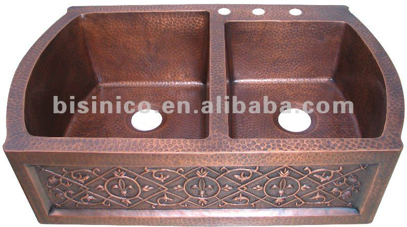 Custom Double Sinks/Kitchen Basin/Copper Farmhouse Sink/Handmade Copper Sink-B270286