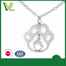 OEM Design trendy Die casting Nickel Paw Metal Sterling silver Necklace for children