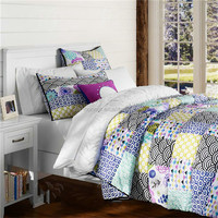 Customized Down Yellow Purple Patchwork Comforter Set On Sale