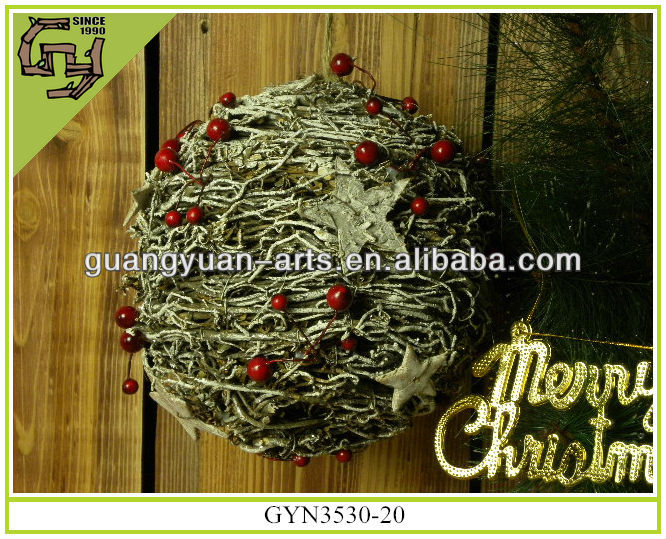 christmas decorative wild rattan hanging ball with birch bark star heart and red berries