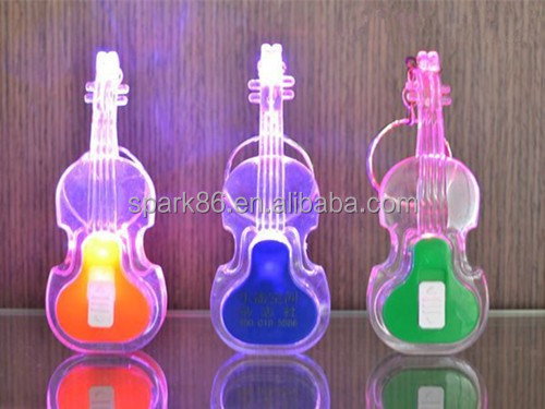 Colourful EVA ABS led guitar keychain sound with 3*AG3 battery flash light key chain
