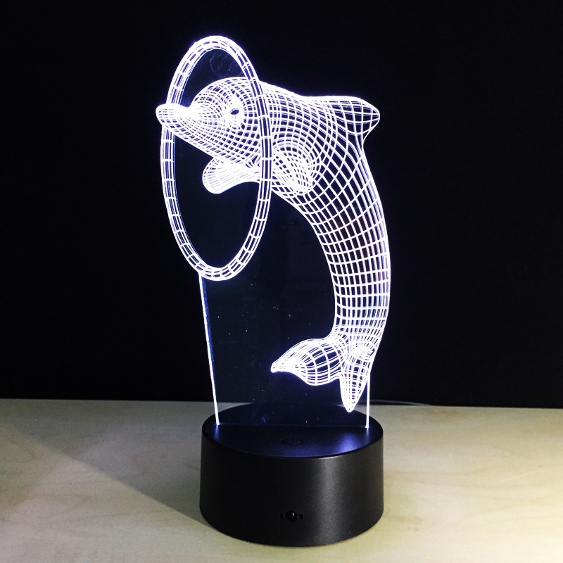 3D Illusion Animal Dolphin LED Desk Table Night Light Lamp 7 Color Touch Lamp Kiddie Kids Children Family Holiday Gift Home Off