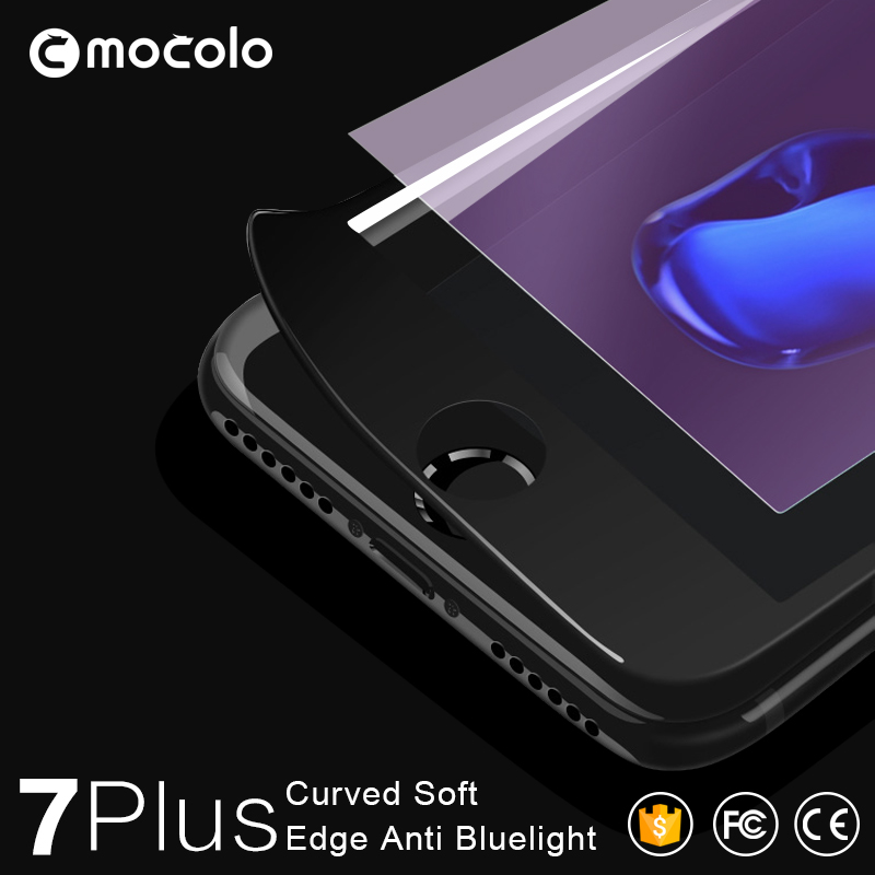 3D Curved 0.33mm Tempered Glass For iPhone 7 / 7 Plus Anti-blue Screen Protectors OEM Packaging Price