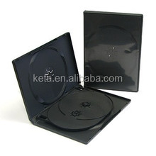 14mm Black Multi 4 discs Plastic Long DVD Case With Tray