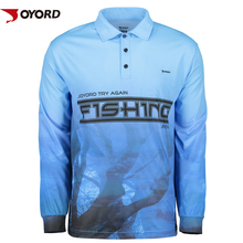 Custom quick dry performance fishing shirt 100% polyester uv dye sublimation fishing shirt