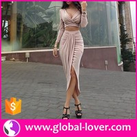 elegant women's long skirts and tops two piece tight bodycon prom dress