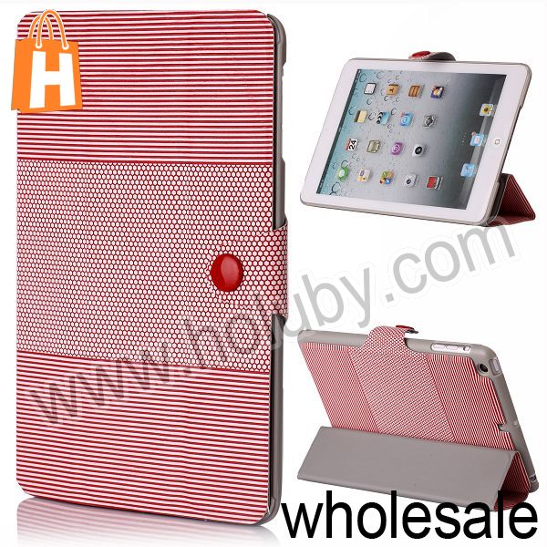 Stripes and Football Pattern Folding Stand Flip Cover Leather Case for Retina iPad Mini with Snap Fastener (6 Colors Optional)