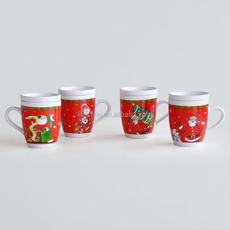 ceramic mug with lid and Xmas design China supplier cups mugs