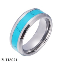 mens blue star sapphire opal jewelry inlay stone tungsten rings wedding rings