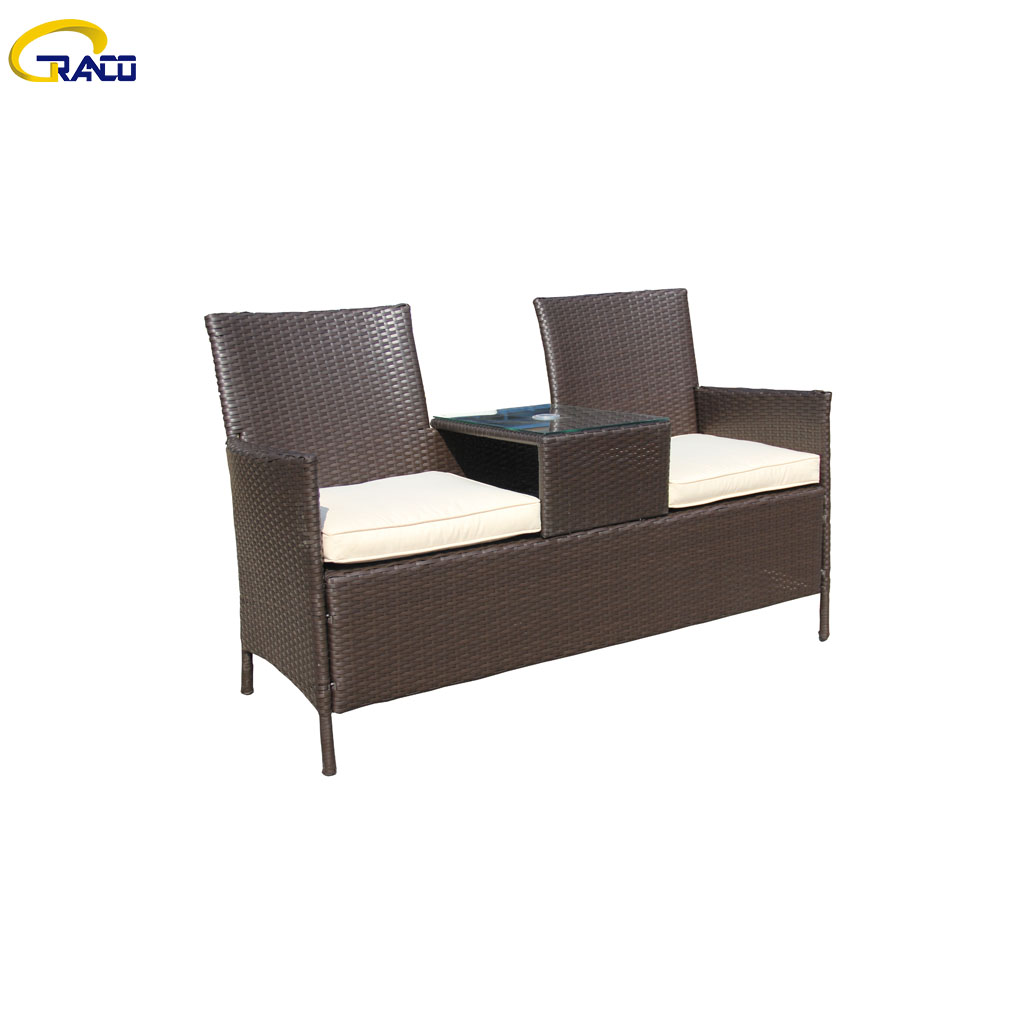 Factory direct outdoor rattan 2 seater with middle table