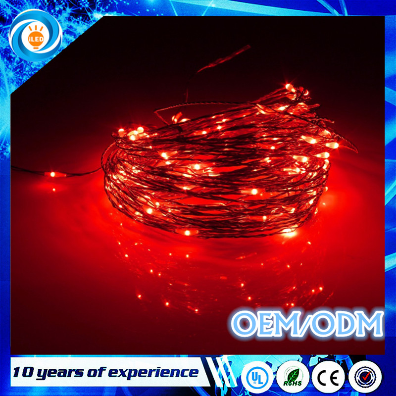 2017Hot sale Waterproof 5m 50 LED Copper Wire String Lights Christmas Party battery operated powered red rope led lights