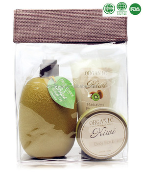 Attractive kiwi fruit shaped bath spa gift set with whitening body lotion
