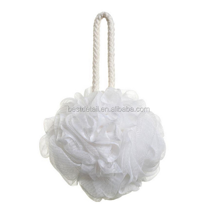 High Quality White Plastic Long Handle Bath Sponge