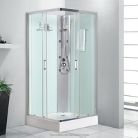 European shower cabin with back glass