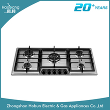 5 brass burners gas hob built in type stainless steel gas stove and hob