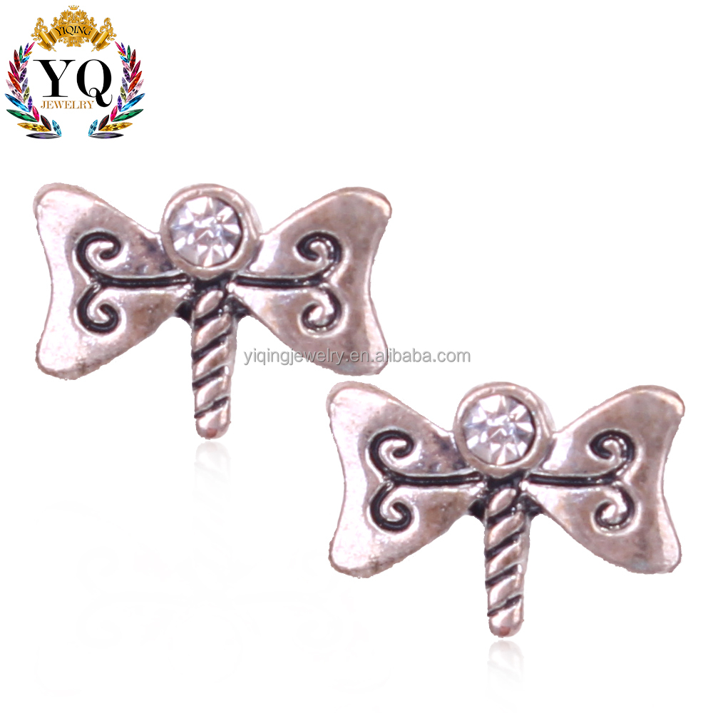 EYQ-00337 silver fine jewelry small bowknot stud butterfly earrings rhinestone