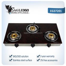 Indian Best sell model! EG37201 72cm temper glass free standing portable gas stove/ gas range/ cooktop/ 3 butterfly burners