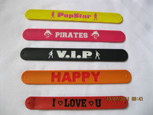Hot new products 2015 cheap Customised silicone slap bands bulk buy