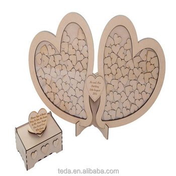 Wooden Double heart drop box guest book