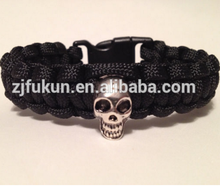 ancient skull beads braided paracord survival bracelet