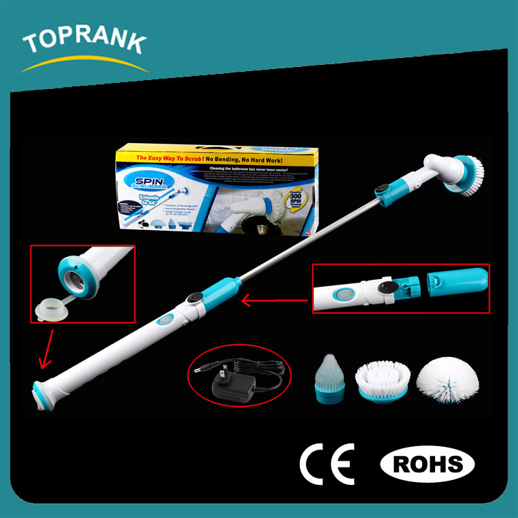 Toprank CE ROHS Approved Turbo Scrub 360 Cordless Tile Scrubber Cleaning Brush Electric Spin Scrubber Brush With Cleaning Kit