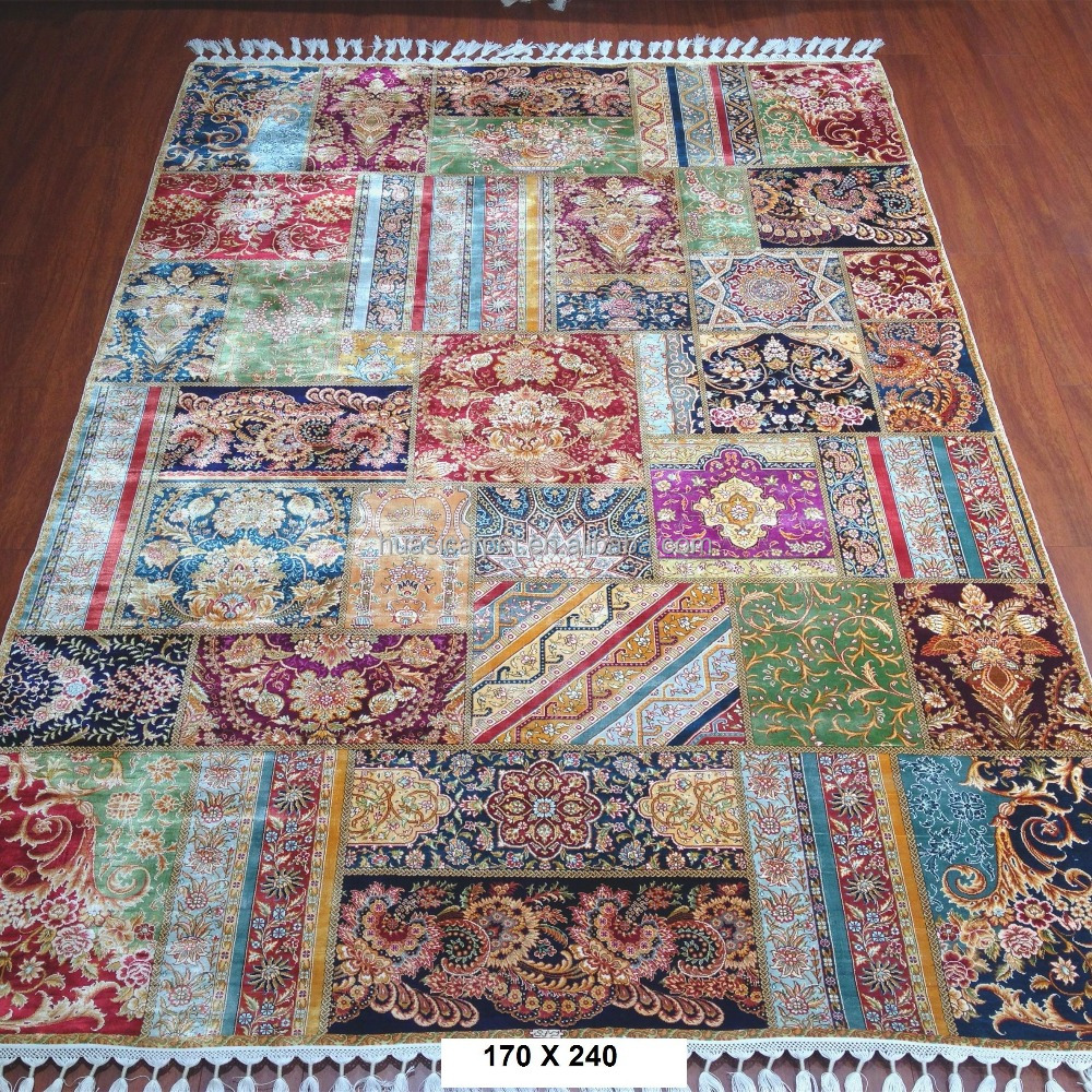 patchwork design turkish hand knotted persian silk chinese rugs for sale