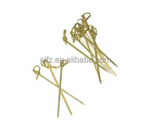Strong disposable bamboo skewer with knot