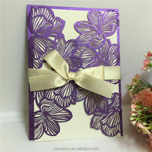 China wholesale laser cut flower wedding invitation cards for weddings decoration