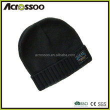 Black thickness acrylic cuff beanie/custom label winter knitted hat