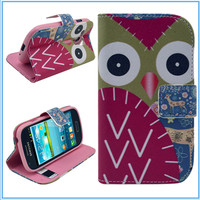 Owl Pattern Leather Case with Credit Card Slots & Holder for Samsung Galaxy SIII mini i8190