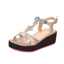 new arrival trendy women high heel indian bridal wedding sandals with blue crystal rhinestone