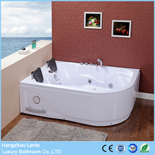 Hot price 2 person indoor whirlpool right bath tub with control panel