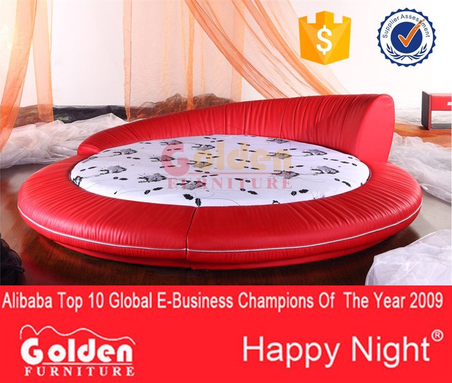 Smart round soft bed modern appearance red leather cheap king size round bed on sale 6811