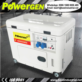 Newly Designed!!! Factory Direct Sale POWERGEN 50Hz Silent Diesel Generator 7000W with Cooling Fan