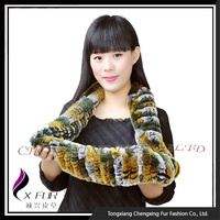 CX-S-125A 2016 Fashionable Hand Knitted Genuine Rex Rabbit Fur Scarf