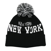 New York Knitted Beanie Pom Pom Hat with Cuff