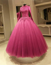 FA105 Muslim Fuchsia Color Wedding Dresses A Line High Neck Long Sleeves Applique Lace Plus Size Bridal Gowns Real Picture