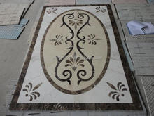 Rectangle marble stone waterjet medallion for home entrance design