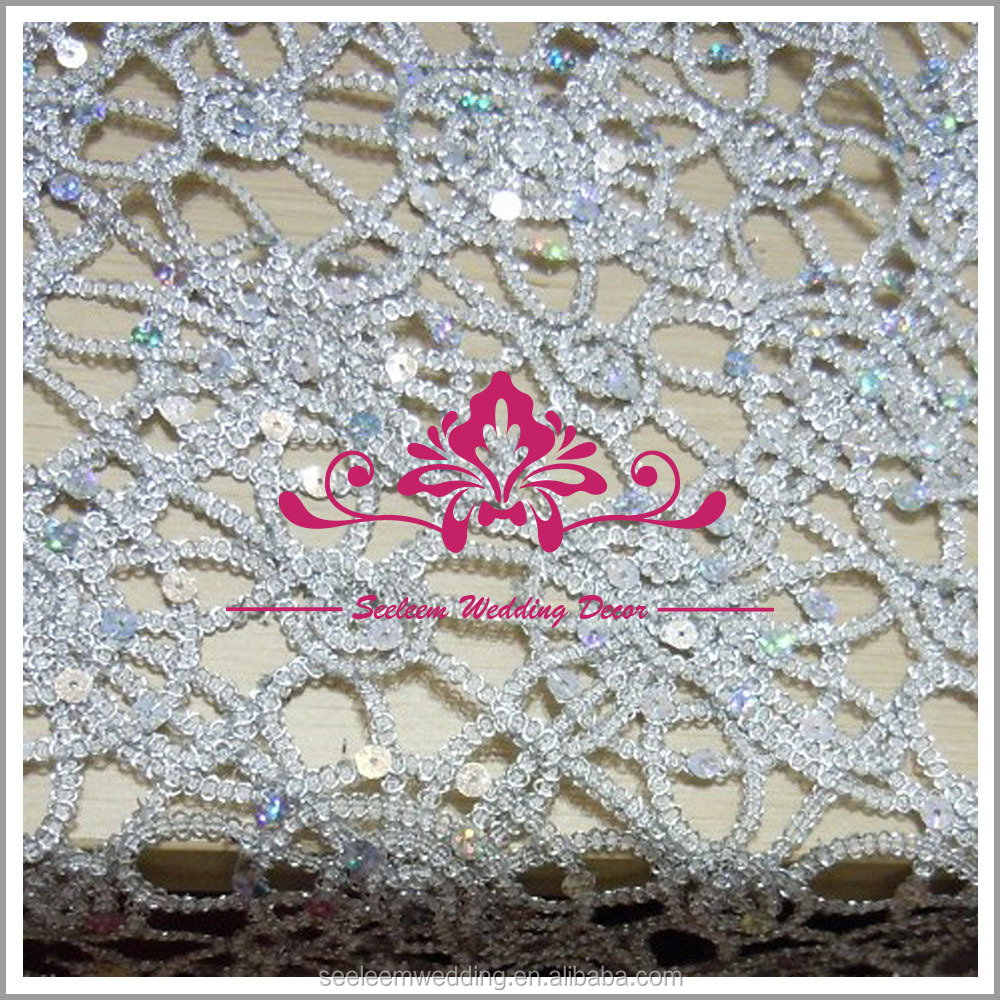 CS036 chemical lace sequin table cloth silver overlay