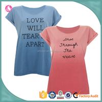 ladies custom printing promotional dip dye o-neck chian t shirt