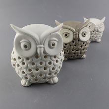 Fashionable handmade craft Led light ceramic owl for home decoration