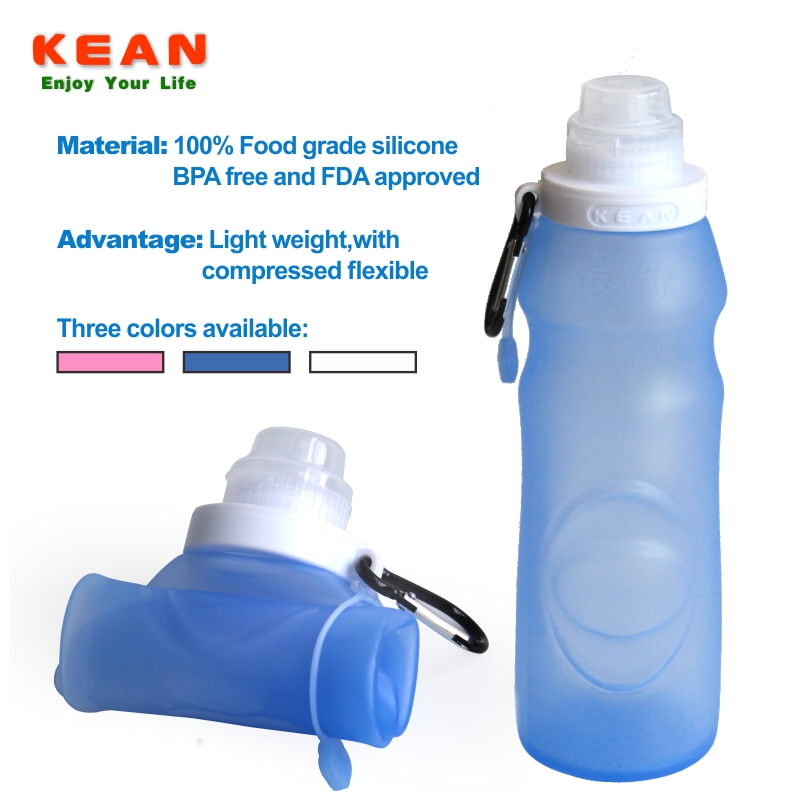 China supplier soft non-toxic bpa free liquid silicone triangle shaped water bottle