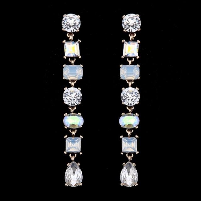 luxury beads colorful long earrings fashion shinning square AAA zircon fine earrings women