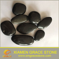 High Polished Black River Stone Natural