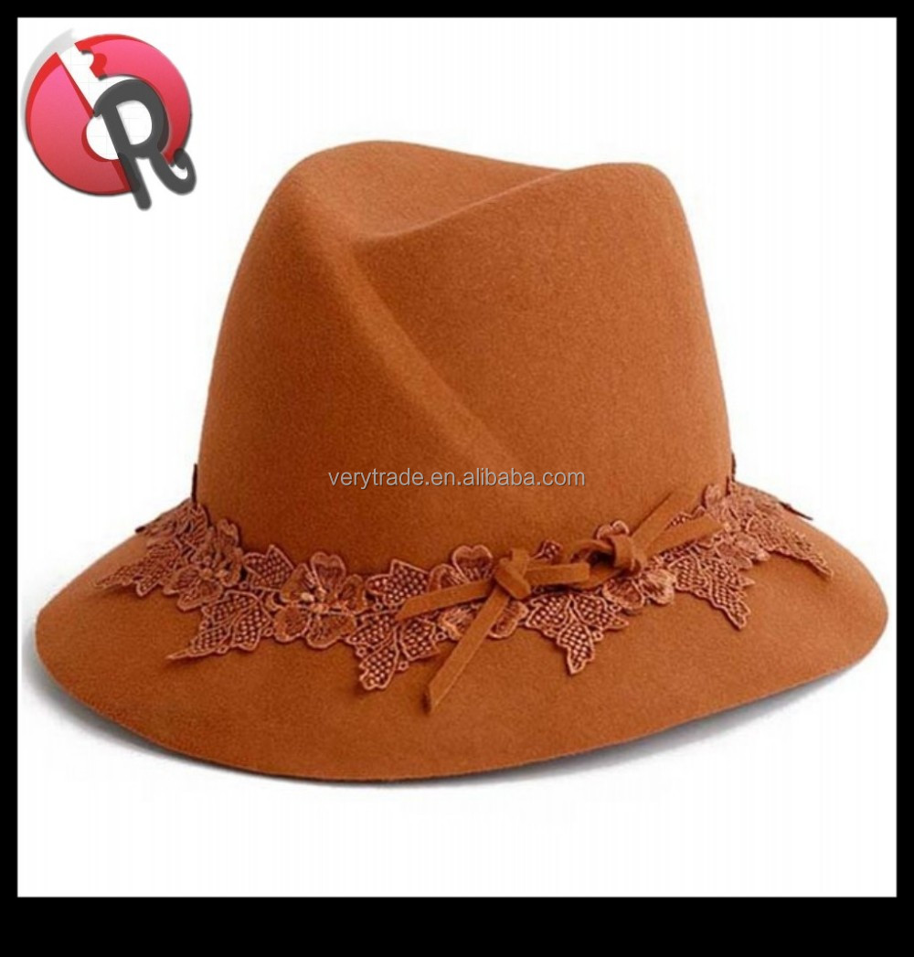 2017 new style hot sell fashion ladies lace fedora hat <strong>orange</strong>