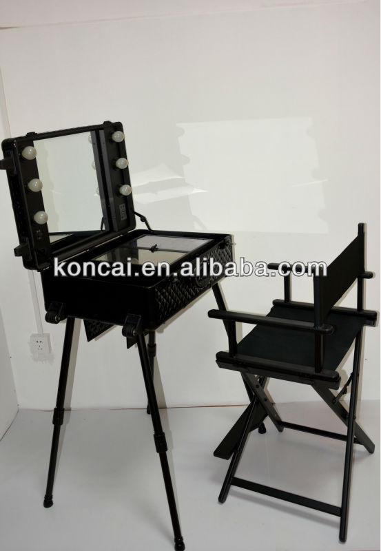 Zebra PVC pattern rolling trolley cosmetic train case with lights and stands/ Mobile Professional make up station