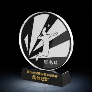 custom badminton sports crystal trophy with printing