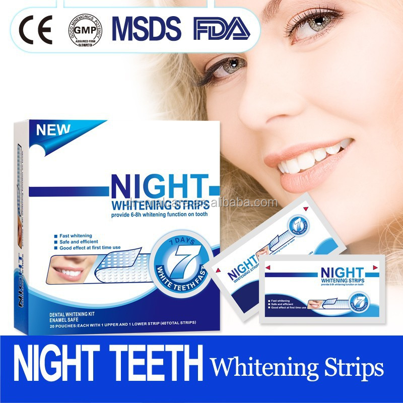 Professional dental teeth whitening strips,Home use night whitening strips